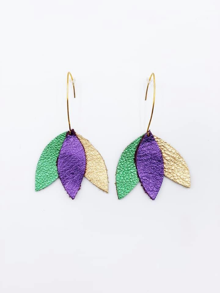 Mardi Gras Tri Petal Hook Earrings