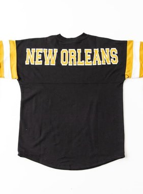 New Orleans Sweatshirt with Striped Sleeves, Black
