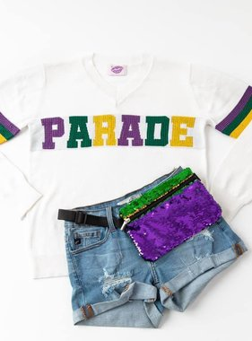 Mardi Gras Parade Sweater, Sparkle