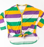 Mardi Gras Striped Long Sleeve Knotted Thermal
