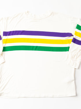 Mardi Gras Striped Chest Shirt, Ivory