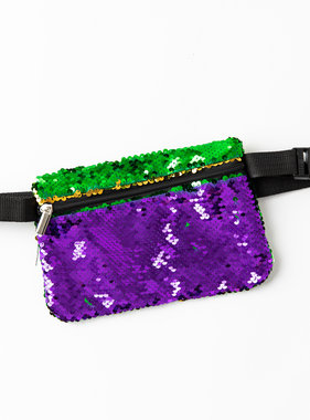 Mardi Gras Magic Sequin Fanny Pack, Square