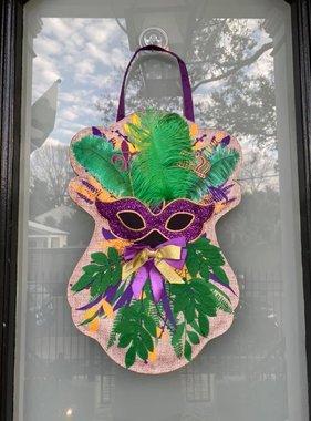 Mardi Gras Mask Swag Door Hanger
