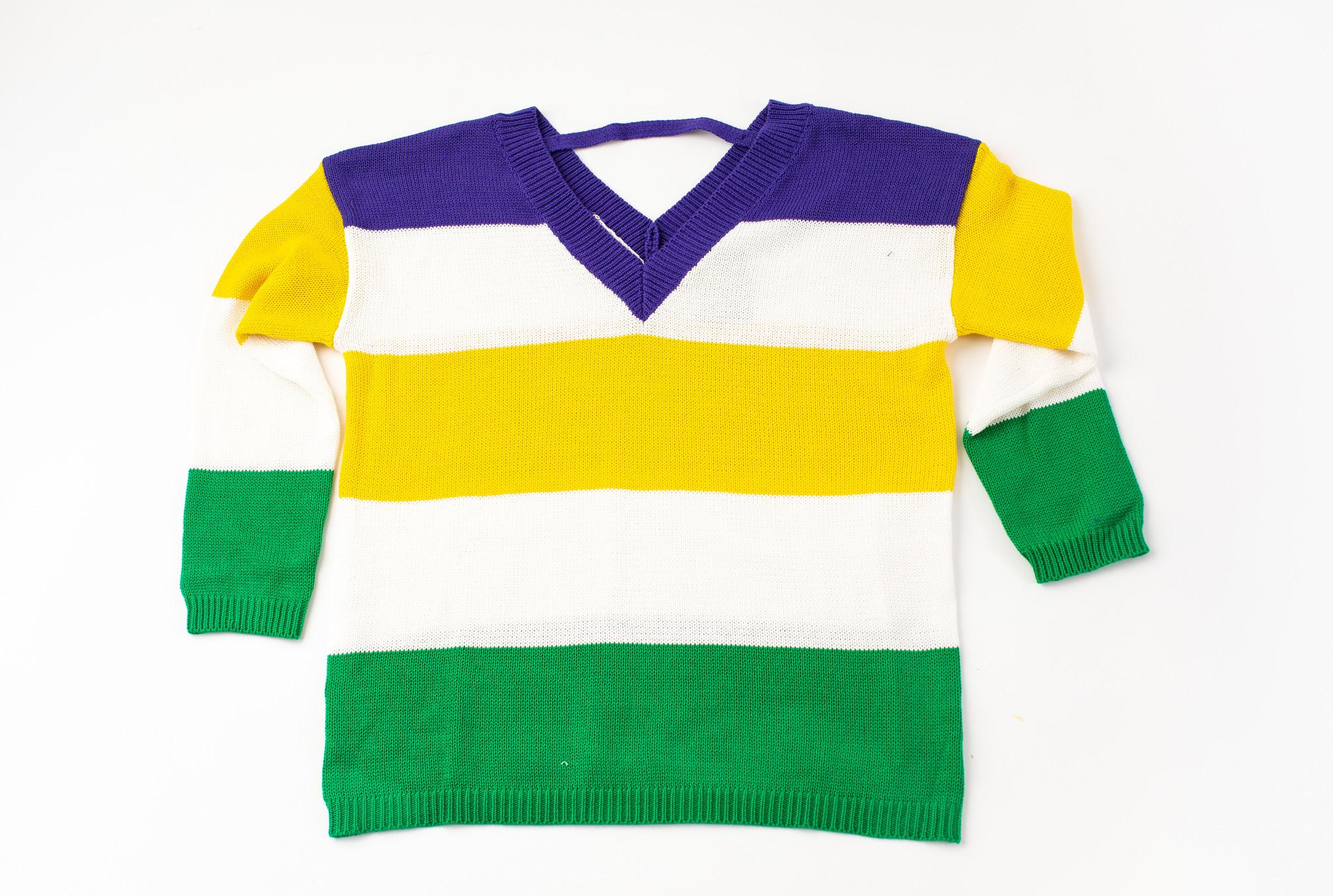 Mardi Gras Sweater w/Back Cutout