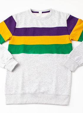 Mardi Gras Block Sweatshirt, Grey