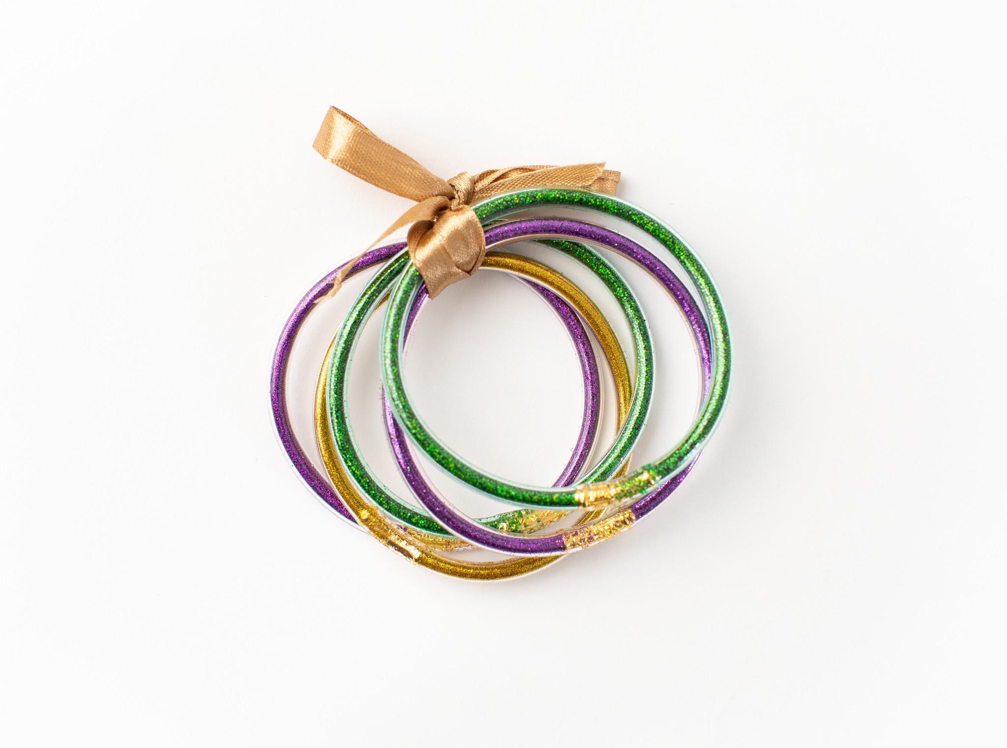Mardi Gras Glitter Tube Bracelet Set