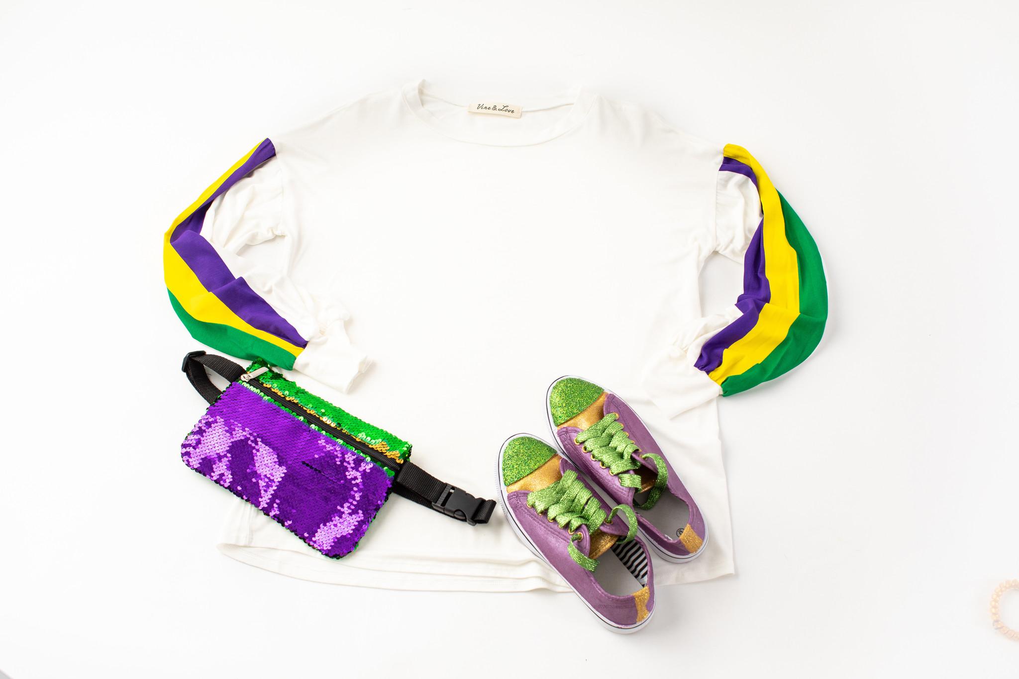 Mardi Gras Striped Sleeve Shirt, Ivory