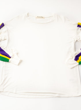Mardi Gras Striped Sleeve Shirt, Ivory
