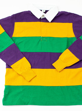 Mardi Gras Block Rugby Shirt, Long Sleeve