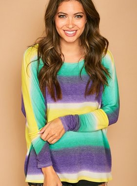 Mardi Gras Tie Dye Striped Top, Long Sleeve