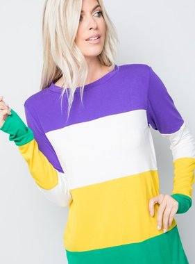 Mardi Gras Stripes Tunic Top