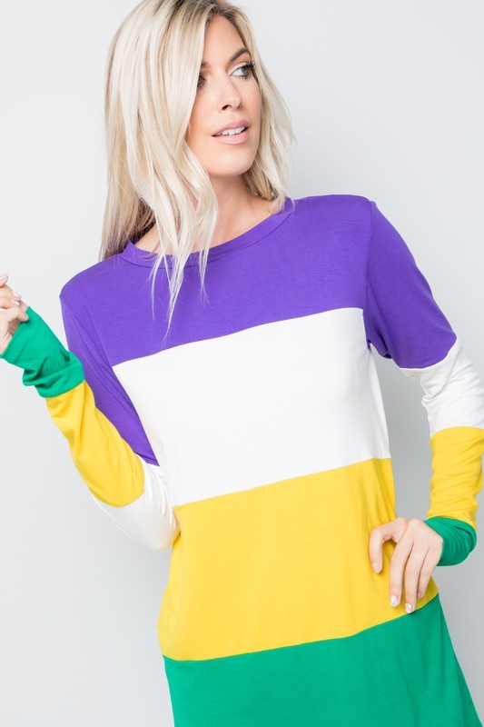 Mardi Gras Stripes Tunic Top