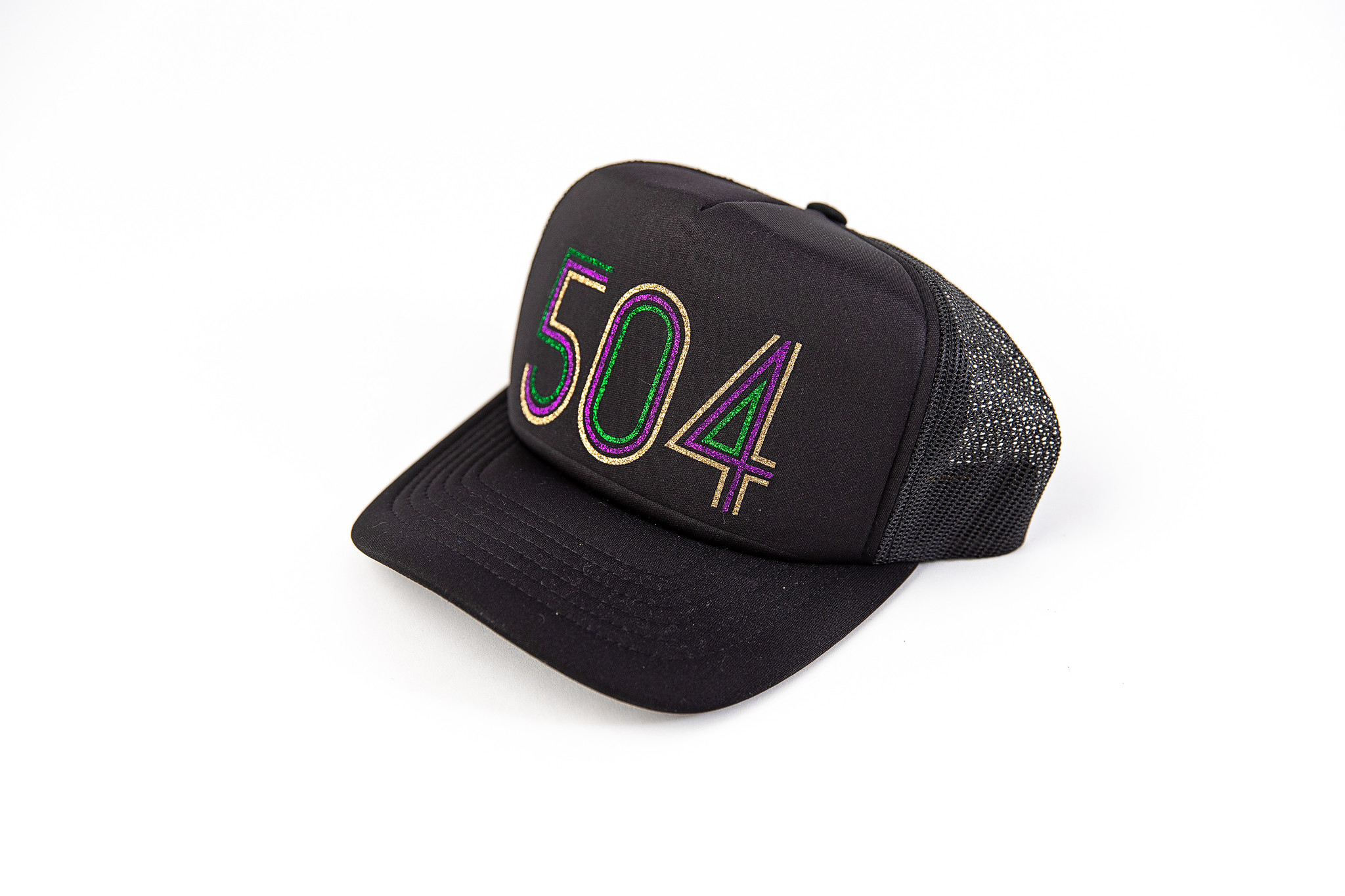 Mardi Gras 504 Glitter Trucker Hat