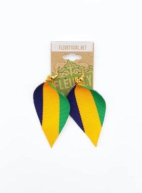 Mardi Gras Stripe Teardrop Earrings, Ribbed