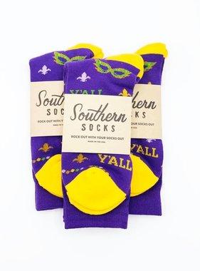 Mardi Gras Y'all Socks
