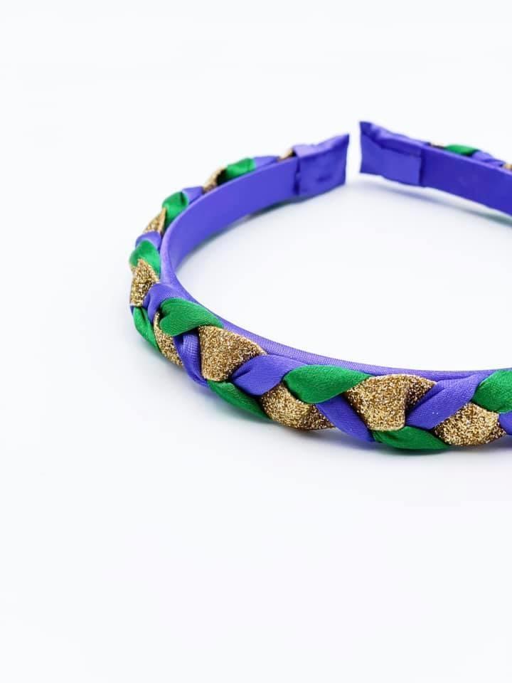 Mardi Gras Braided Hard Headband