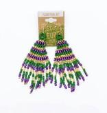 Mardi Gras Beaded Triangle Dangle Earrings, Small
