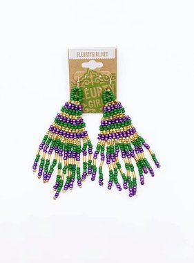 Mardi Gras Beaded Triangle Dangle Earrings, Small