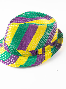 Light Up Mardi Gras Fedora, Purple, Green, & Gold