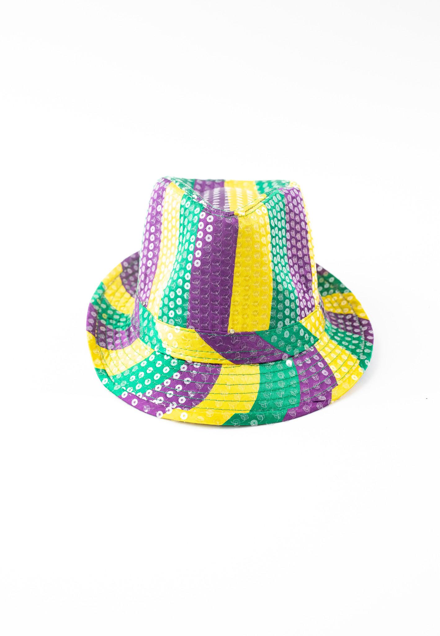 Light Up Mardi Gras Fedora, Purple, Green, & Gold