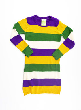 Mardi Gras Striped Sweater Dress