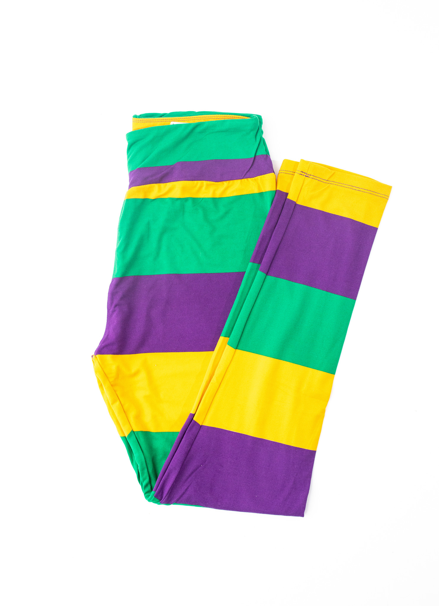 Mardi Gras Stripe Leggings, Curvy