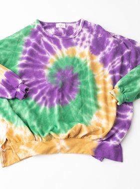 Mardi Gras Tie Dye Oversized Sweatshirt