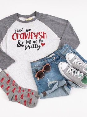 Feed Me Crawfish Baseball Tee