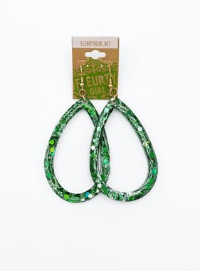 Green Epoxy Open Teardrop Earrings