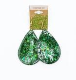Green Epoxy Teardrop Earrings