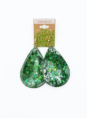 Green Epoxy Teardrop Earrings