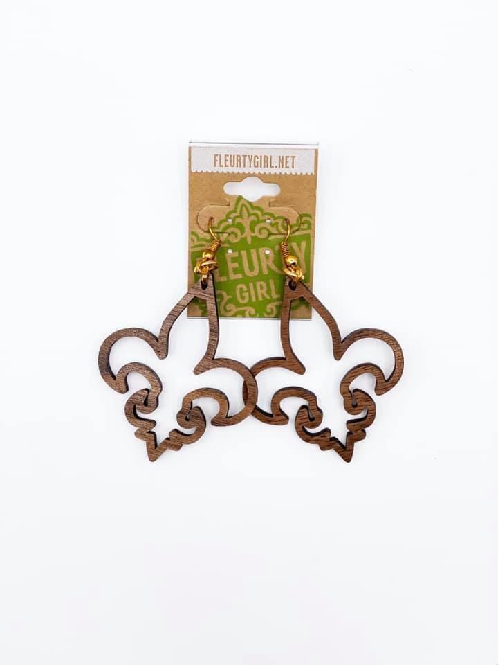 Fleur de Lis Wood Cutout Earrings