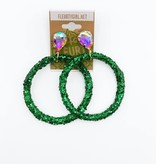 Green Glitter Hoop Rhinestone Stud Earrings