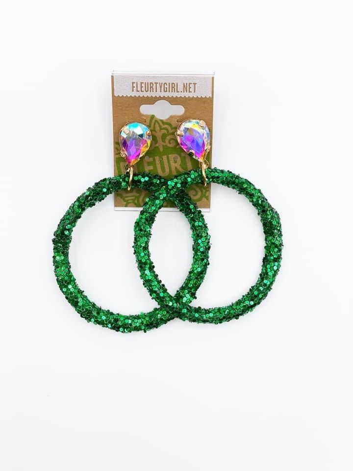 Green Glitter Hoop Rhinestone Stud Earrings