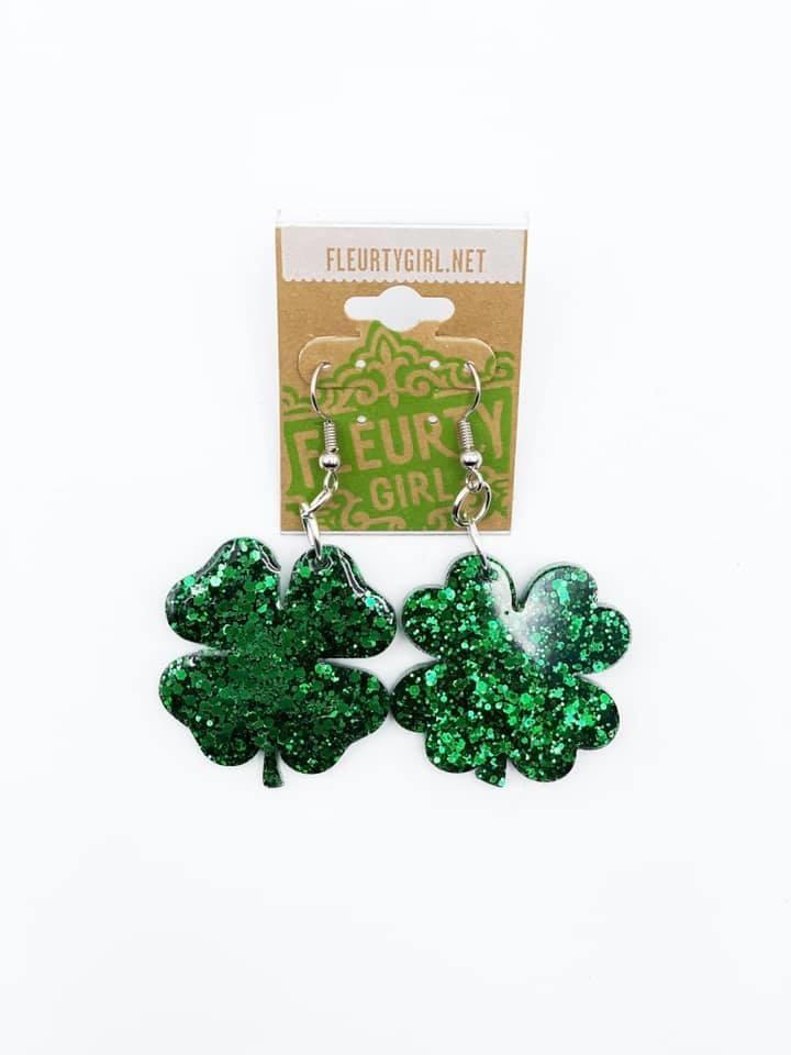 Glitter Clover Earrings