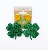 Glitter Clover Earrings with Gold Stud