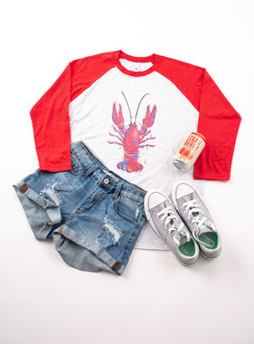 Watercolor Crawfish Baseball Tee