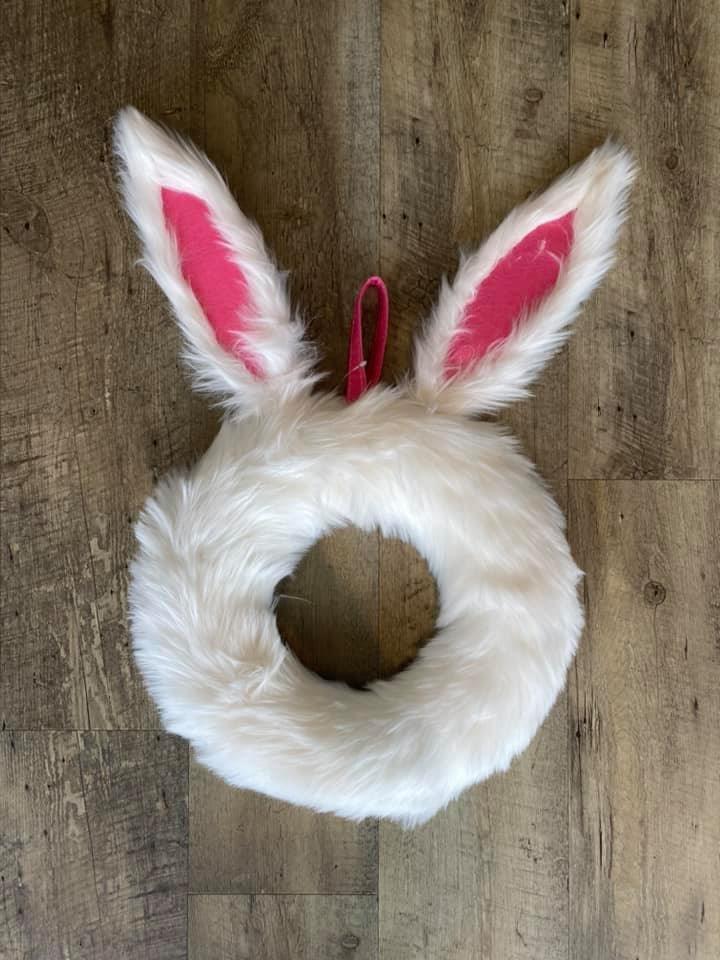 Furry Bunny Wreath Door Hanger