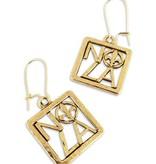 Square NOLA Fleur de Lis Earrings, Gold