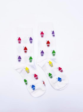 White Snoball Socks, Crew