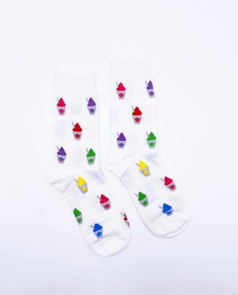 White Snoball Socks, Crew