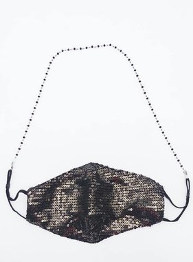 Crystal Beaded Face Mask Chain, Black