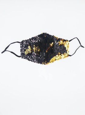 Black & Gold Magic Sequin Face Mask
