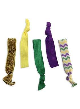 5 Pack Mardi Gras Hair Tie/Bracelet