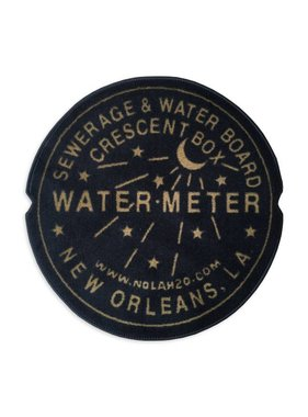 Fleurty Girl Indoor New Orleans Water Meter Rug, Black