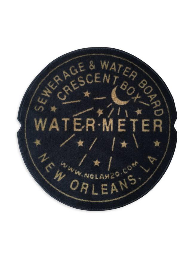 Fleurty Girl Indoor New Orleans Water Meter Rug, Black