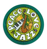 Circle Car Magnet, Peace Love Jazz