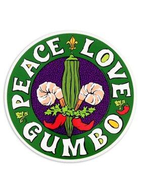 Circle Car Magnet, Peace Love Gumbo