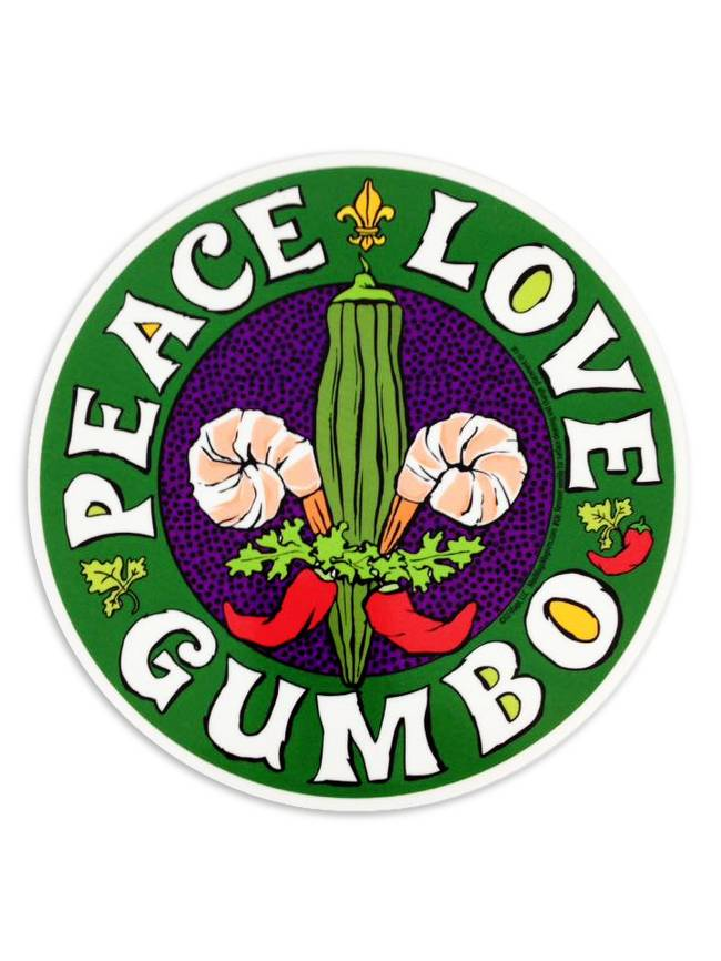 Circle Car Magnet, Peace Love Gumbo