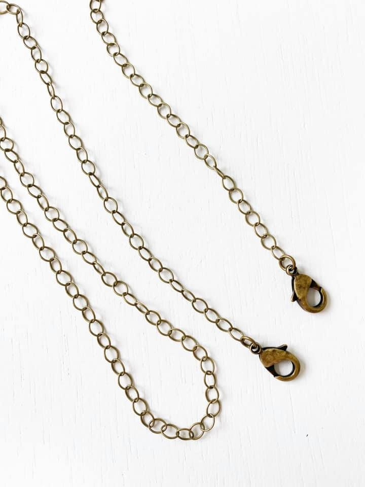 Face Mask, Chain Antique Brass